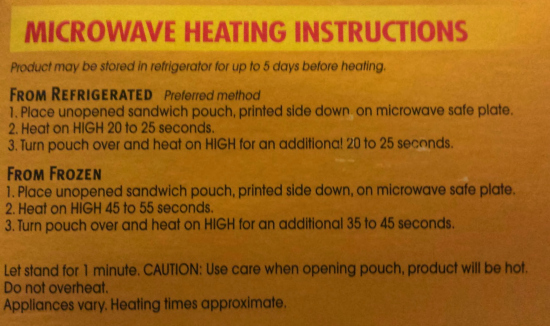 Heating Instructions for Tyson Minis