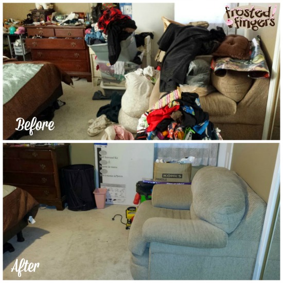 Bedroom before and after #40BagsIn40Days
