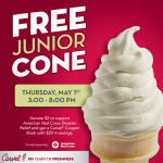 Free Junior Cone at Carvel May 1st!