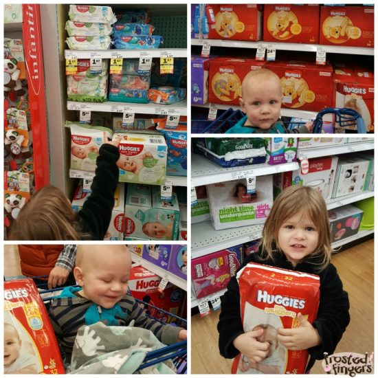 Shopping for Huggies at Meijer