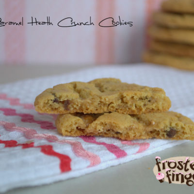 Caramel Heath Crunch Cookies #25DaysofCookies #25DaysofChristmas