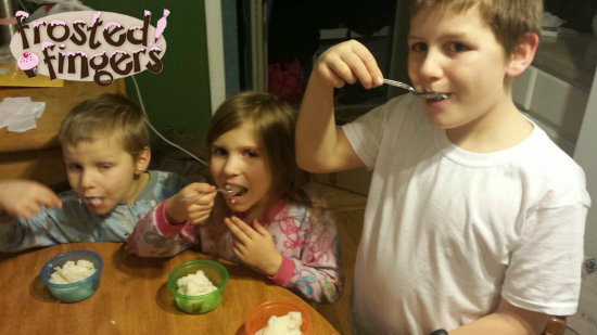 Kids in the Kitchen Eating Snow Ice Cream