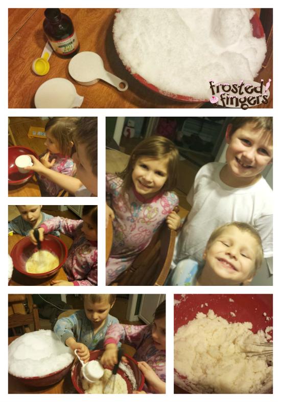 Kids in the Kitchen Making Snow Ice Cream
