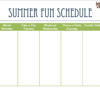 Summer Fun and Snack Ideas {Summer Schedule Printable}