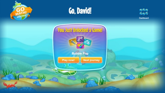 Game unlock for Go Math!