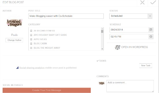 Setting up a post in Coschedule