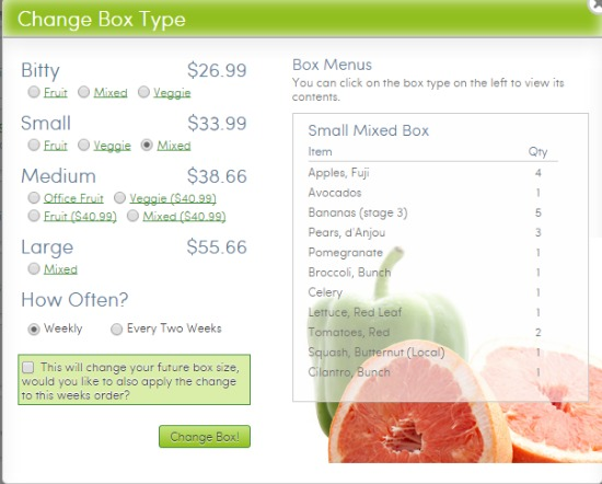 Box Type at Door to Door Organics