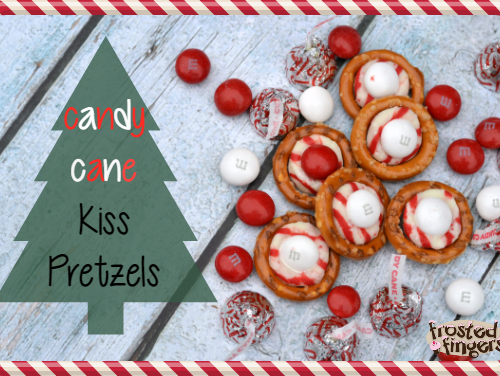 white chocolate candy cane kiss pretzels