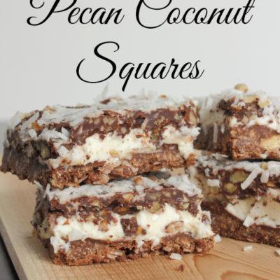 Creamy Chocolate Pecan Coconut Squares
